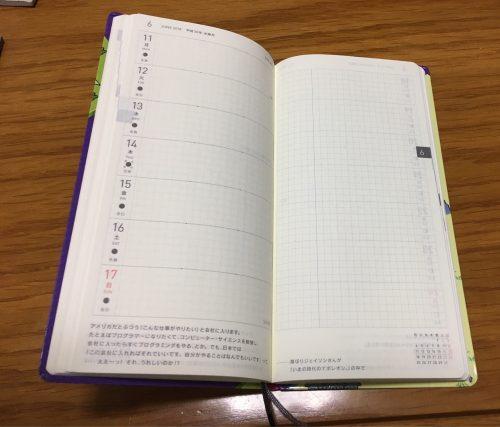 ほぼ日手帳2018 weeks 中身