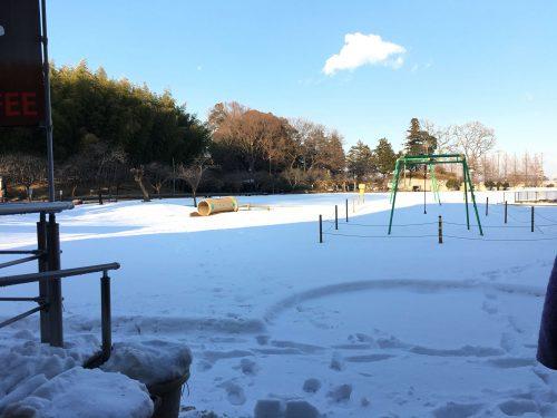 千葉県柏市あけぼの山公園内。大雪のおかげで遊具も雪まみれ