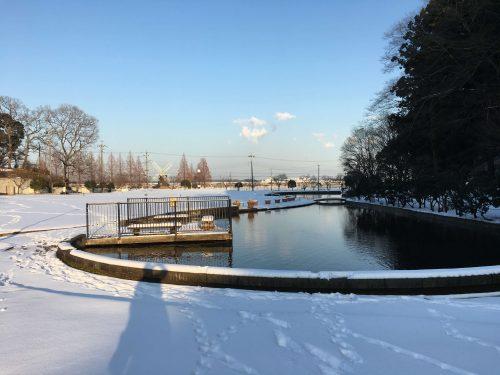 千葉県柏市あけぼの山公園内。大雪のおかげで池の周りも雪まみれ